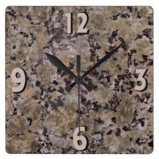 Black and Tan Granite Square Wall Clock