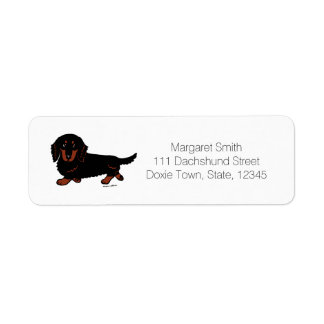 Black and Tan Long Haired Dachshund 1 Return Address Label