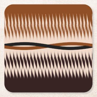 Black and Tan Modern Print Square Paper Coaster