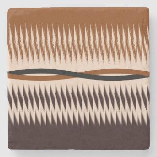 Black and Tan Modern Print Stone Coaster