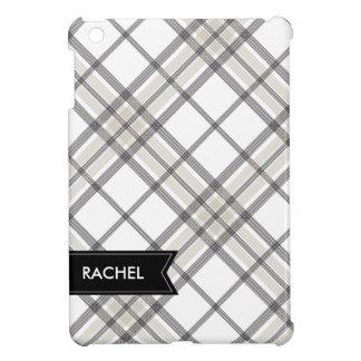 Black and Tan Plaid Monogram iPad iPad Mini Cases