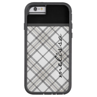 Black and Tan Plaid Monogram iPhone 6 Tough Xtreme iPhone 6 Case