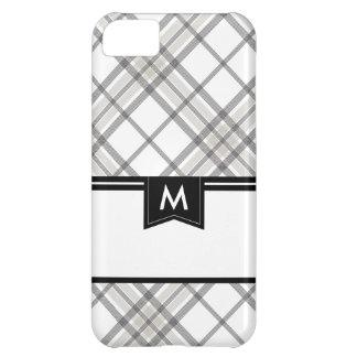 Black and Tan Plaid Monogram iPhone iPhone 5C Case