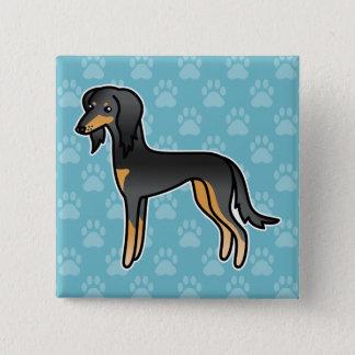 Black And Tan Saluki Dog 15 Cm Square Badge