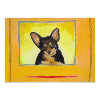 "Black and tan small dog chihuahua minpin painting 5"" x 7"" invitation card"