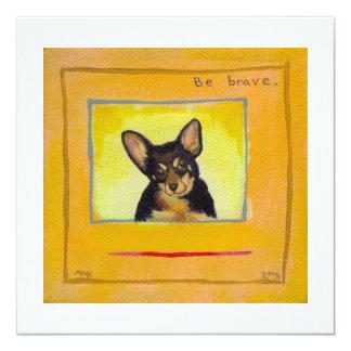"Black and tan small dog chihuahua minpin painting 5.25"" square invitation card"