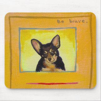 Black and tan small dog chihuahua minpin painting mouse pad