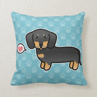 Black And Tan Smooth Coat Dachshund And Heart Cushions