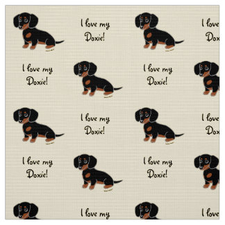 Black and Tan Smooth Dachshund Fabric