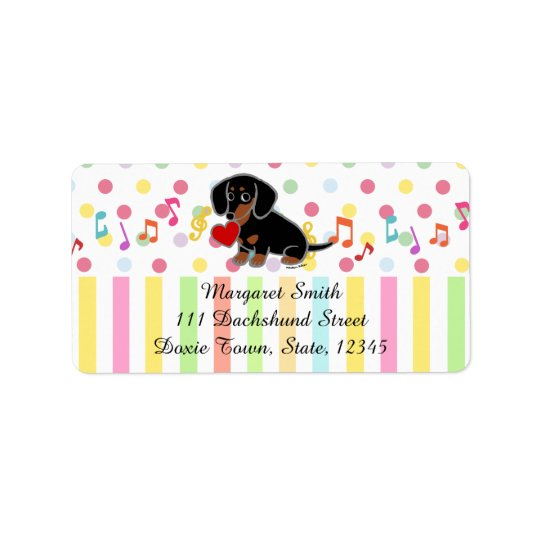 Black and Tan Smooth Dachshund Heart Address Label