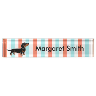 Black and Tan Smooth Haired Dachshund Nameplate