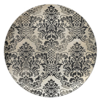 Black and tan textured damask. party plate