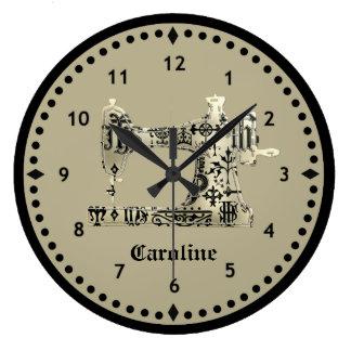 Black and Tan Vintage Sewing Machine Clock