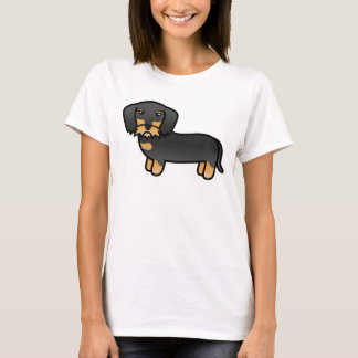 Black And Tan Wirehaired Dachshund Cartoon Dog T-Shirt