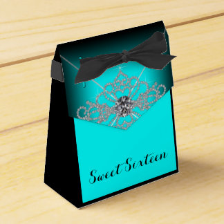 Black and Teal Blue Sweet 16 Birthday Party Favour Box