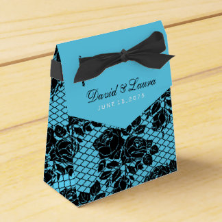 Black and Teal Blue Wedding Party Favor Box