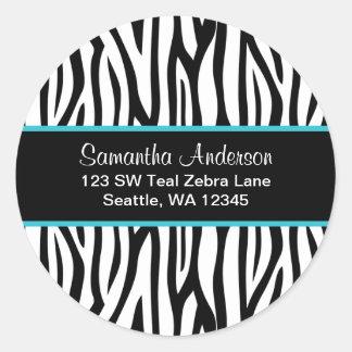 Black and Teal Blue Zebra Custom Address Label Round Sticker