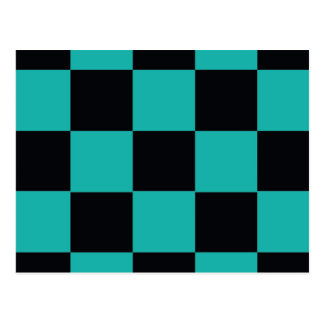 Black and Teal Checkerboard Postcard