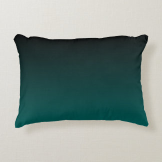 Black and Teal Color Fade Accent Pillow