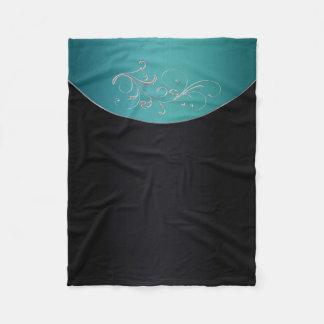Black and Teal Fleece Throw Blanket