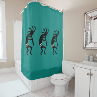Black And Teal Kokopelli Southwestern Design Shower Curtain
