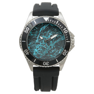 Black and Teal Marble, Wrist Watch