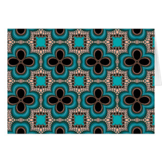 Black and teal Moroccan style geometric pattern Card