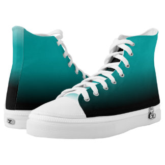 Black and Teal Ombre Fashionable High Top Printed Shoes