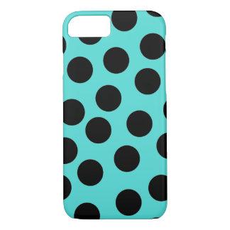 Black and teal polka dot iPhone case