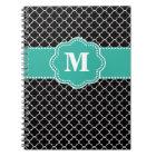 Black and Teal Quatrefoil Monoagram Notebook