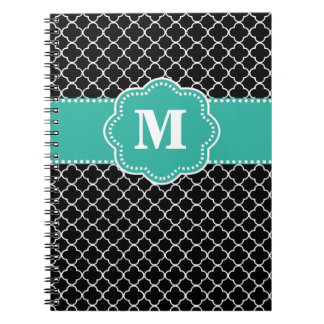 Black and Teal Quatrefoil Monoagram Spiral Notebook