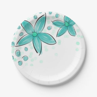Black and Teal Watercolor Flower Polka Dot Sketch 7 Inch Paper Plate