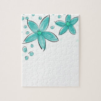 Black and Teal Watercolor Flower Polka Dot Sketch Puzzle