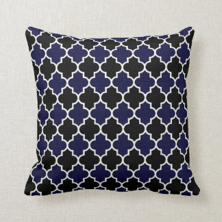 Black and Textured Navy Blue Quatrefoil Decorative Cushion