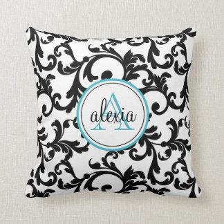 Black and Turquoise Monogrammed Damask Print Cushion