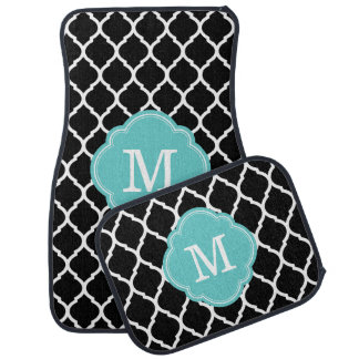 Black and Turquoise Moroccan Quatrefoil Monogram Car Mat