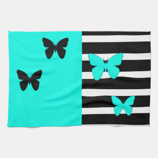 Black and turquoise stripes and butterflies tea towel