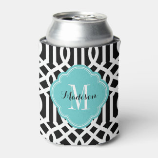 Black and Turquoise Trellis Monogram Can Cooler