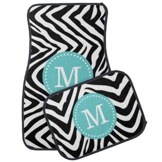 Black and Turquoise Zebra Print Custom Monogram Floor Mat