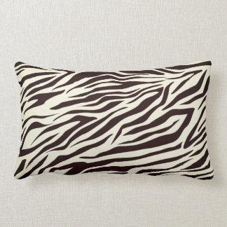 Black and Vanilla Wild Zebra Stripes Pattern Lumbar Cushion