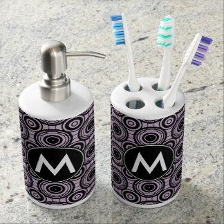Black and Violet Circles with Custom Monogram Bathroom Set
