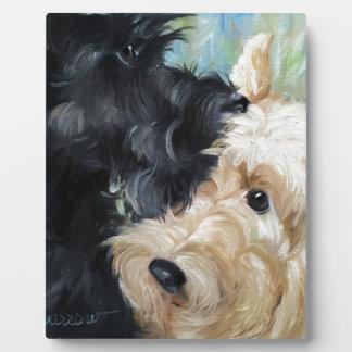 Black and wheaten Scottish terrier scottie art Plaque