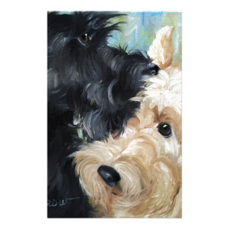 Black and wheaten Scottish terrier scottie art Stationery