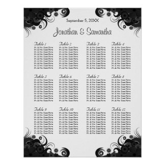 Black and White 12 Wedding Tables Seating Charts Poster