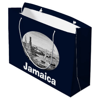 Black and White 1888 Old Port Royal Jamaica Large Gift Bag