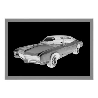 Black And White 1967 Buick Riviera Pop Art Poster