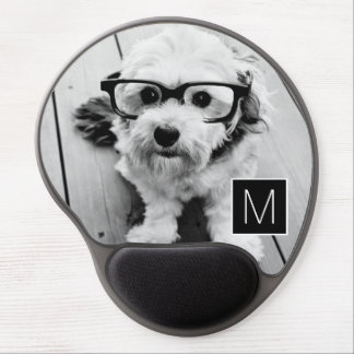 Black and White 1 Photo Collage Custom Monogram Gel Mouse Pad