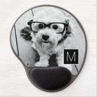 Black and White 1 Photo Collage Custom Monogram Gel Mouse Pad