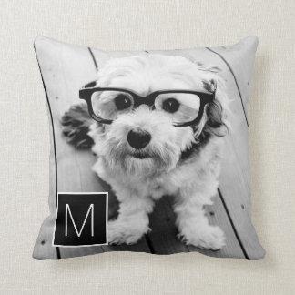Black and White 1 Photo Collage Custom Monogram Throw Pillow