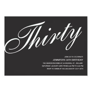 Black and White 30th Birthday Invitations